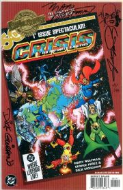 DC Millenium Edition Crisis on Infinite Earths #1 Dynamic Forces Signed x3 Remarked DF COA Ltd 199